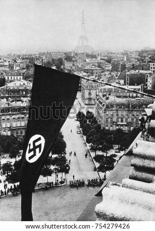Nazi Swastika flag on the Arc de Triomphe after German occupation of Paris, June 1940, World War 2