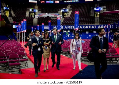 NBC's Mark Lukasiewicz and  Hallie Jackson talking with Paul Manafort Donald Trump's campaign manager on the floor of the Quicken Arena Kathleen Manafort in the white outfit is on the right.