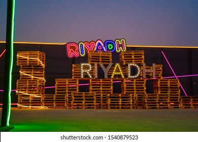 Nbdh boulevard , in Riyadh season - General Authority for Entertainment 15 Oct 2019 / text RIYADH with many color stand on Wood