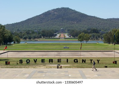 NBERRA - FEB 22 2019:Sovereignty sign at the Aboriginal Tent Embassy in Canberra Parliamentary Zone Australia Capital Territory. It represent the political rights of Aboriginal Australians.