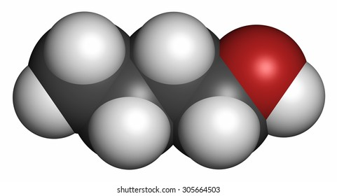 n-butanol (1-butanol) molecule. Used as flavouring and as a solvent. Atoms are represented as spheres with conventional color coding: hydrogen (white), carbon (grey), oxygen (red).
