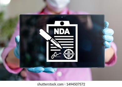 NDA Non Disclosure Agreement Healthcare Medical concept. Digital Contract Signature Patient Privacy Confidential Information.