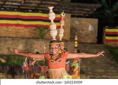 Ndere Center, Ntinda – Kisaasi Stretch, Kampala, Uganda- February 19, 2020, traditional dance of ugandan tribes