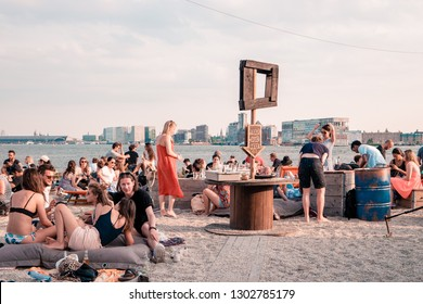 NDSM Wharf Amsterdam May 2018, ity-sponsored art community called Kinetisch Noord, center for underground culture in Amsterdam with beach hotels and many restaurants coming up