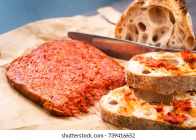 Nduja sausage from Calabria, Italy. Traditionally served spread on rustic bread as a snack or appetizer.