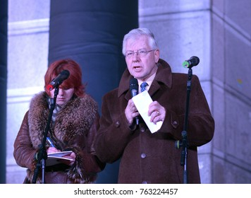 Neal Walker, United Nations resident coordinator in Ukraine, keeping speech during flash mob dedicated to International Day for the Elimination of Violence Against Women. 24.11.2017. Kiev, Ukraine.