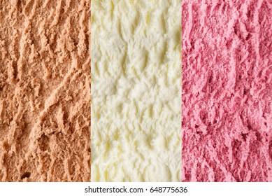 Neapolitan ice cream from vanilla, chocolate, and strawberry texture or background macro shot