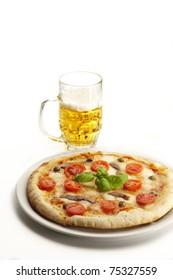 Neapolitan pizza with a glass of beer on white background