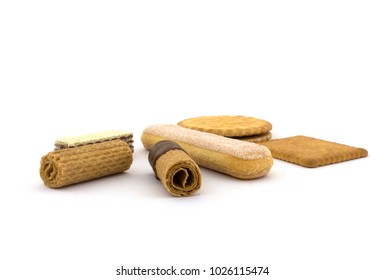 Neapolitans, double biscuits, chocolate rolls, waffle rolls, butter biscuits and spoon biscuit on a white background