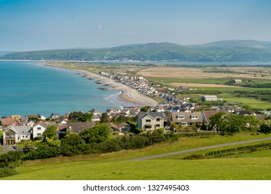 Near Aberystwyth, Ceredigion, Wales, UK - May 25, 2017 View over the Welsh coastline towards Borth