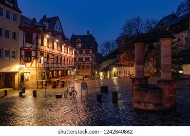 Near The Albrecht Durer's house in Nuremberg, Germany in the early rainy morming