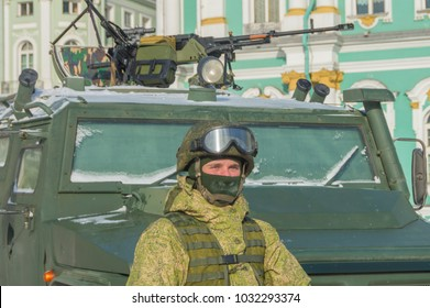 near the armored car Russian military