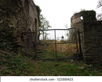NEAR BENDORF, GERMANY - 17.10.2016 The fragment of 800-year-old castle ruins high above Sayn with a beautiful panoramic view from the heights of the  Westerwald ?�.