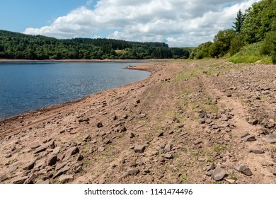 A near dry reservoir in the UK caused by drought and a heat wave ( Llwyn-On Reservoir)