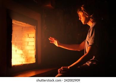 Near the fireplace