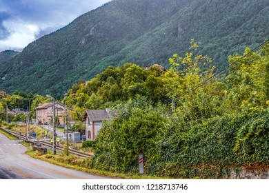 Near the French-Andorran border we see the station of the village of Ax-les-thermes and the old route in the Department of Ariege. France