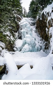 Near frozen waterfall in North Vancouver, a popular 20Km roundtrip hike to Norvan Falls.