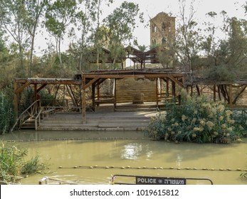 Near Jericho, Israel, The Jordanian part of the sacred river Jordan. The place of the baptism of Jesus Christ. Religious pilgrimage to biblical places - Qasr el Yahud in Israel