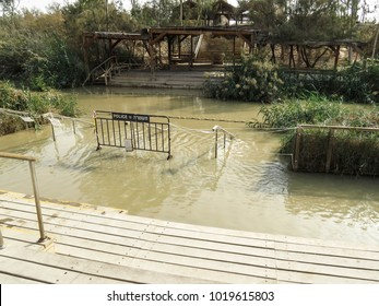 Near Jericho, Israel,  sacred river Jordan. The place of the baptism of Jesus Christ. Religious pilgrimage to biblical places - Qasr el Yahud in Israel