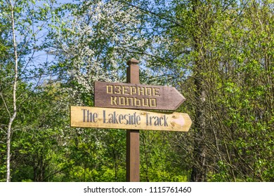 "near Kamenyuki, Belarus - April 29, 2018: direction signs of tourist routes in the ""Belovezhskaya Pushcha"" National Park,  the last primaeval forest fragment of the European woodlands"