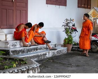 near luang prabang, laos - 11 20, 2018: buddhist monks