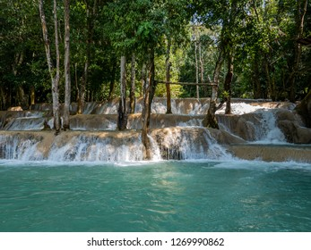 near luang prabang, laos - 11 21, 2018: tad sae waterfall