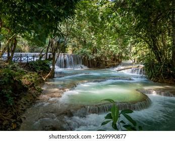 near luang prabang, laos - 11 20, 2018: kuang si falls