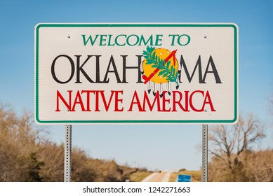 Near Mallid, OK / USA - March 2018: Oklahoma Welcome sign at the border with Texas