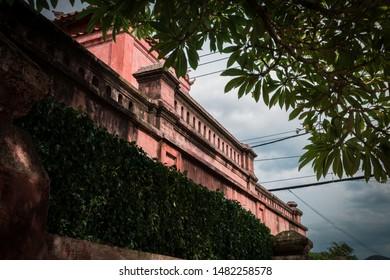near Nha trang City, Vietnam. Gate of old citadel. Wonderful view of pink wall of gate of Dien Khanh Citadel