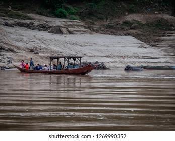 near pakbeng, laos - november 19, 2018: river mekong