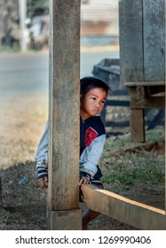 near pakse, laos - 11 24, 2018: little boy