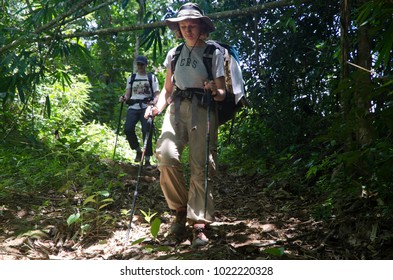 NEAR PHONGSALY, LAOS - AUGUST, 2017 : Hiker walking in jungle located in North of Laos.