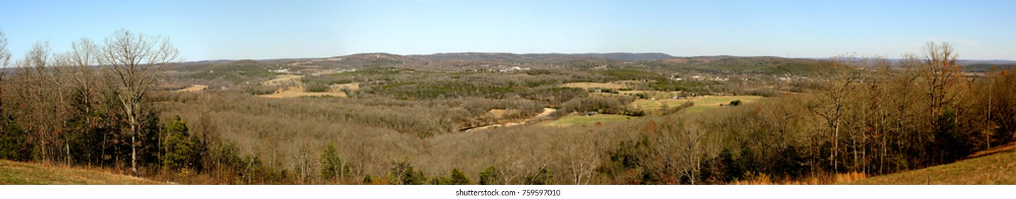 Near Pyaat Arkansas scenic wide overlooking view of the Ozark mountains and hills surrounding. November