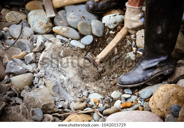 Near River Among Stones Man Found Stock Photo (Edit Now