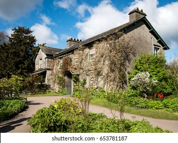 NEAR SAWREY, UK - 23 APRIL 2017: The quaint English country cottage known as Hill Top in the Lake District village of Near Sawrey. The house was once the home of children's author Beatrix Potter.