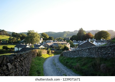 Near Sawrey village from above in evening light Lake District