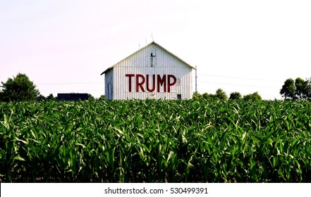 Near Somerset Ohio, circa June 2016: Trump on the side of a barn in the middle of a corn field in rural Ohio. A symbol of the rural voters that supported Trump in record numbers. Editorial