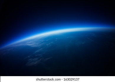 Near Space photography - 20 km above ground / real photo taken from weather balloon / universe stratosphere /