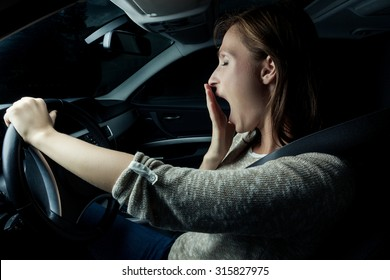 nearly sleeping driving woman in the night