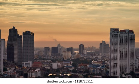 nearly sunset skyline cityscape and river building background