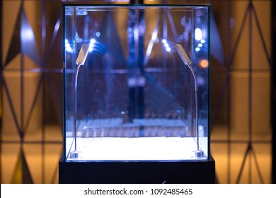 Neat cube empty glass showcase display with LED light