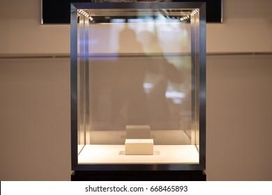 Neat cube empty glass showcase display