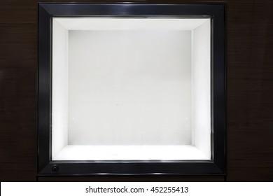 Neat dark wooden Empty glass showcase display