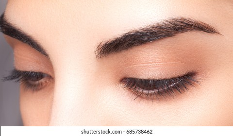 Neat eyebrows. Long black lashes.Cosmetics & make-up. Beautiful female.