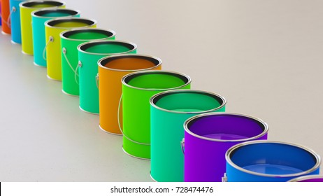 Neat line of variously oriented paint cans on a modern minimalist neutral surface. This image is a 3d rendering.