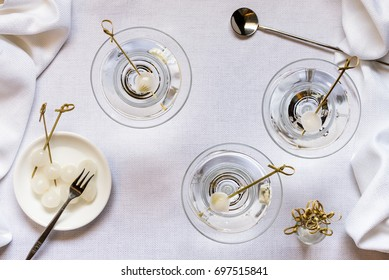 Neat Martinis with Onion Pearls