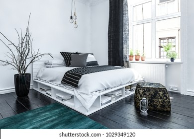 Neat modern bedroom interior with grey and white decor and a stylish bed with storage space below on a wooden floor lit by a large bright window. 3d rendering.