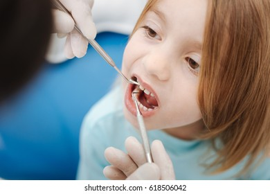 Neat skillful dentist checking patients teeth