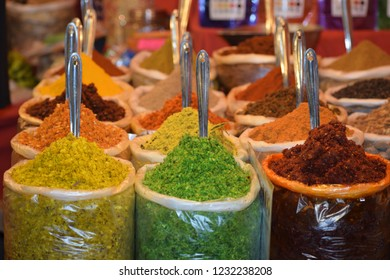 Neatly arranged Colorful biryani ingredients and other food ingredients for sale in local night market