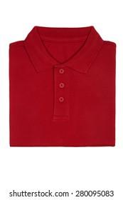 Neatly folded red polo shirt isolated on white background
